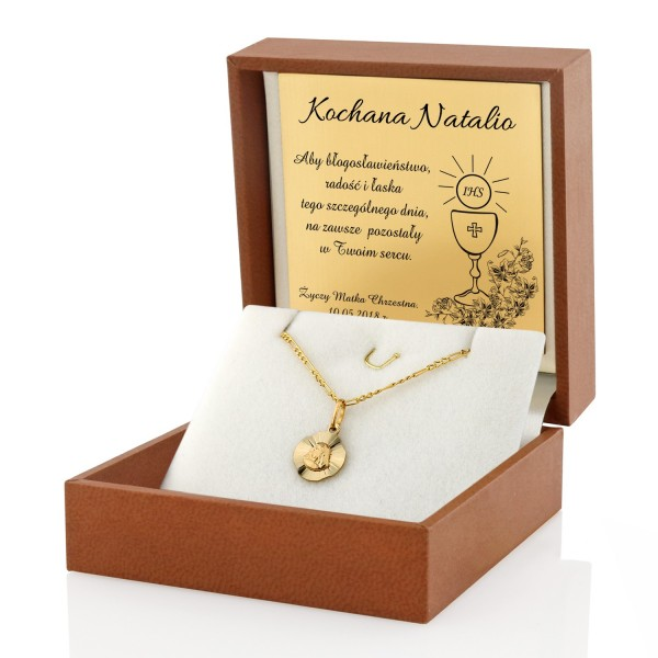 złoty medalik na prezent na komunię świętą