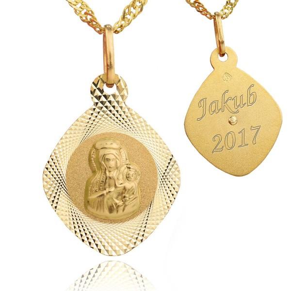 złoty medalik z łańcuszkiem + grawer na komunię