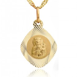 grawerowany złoty medalik na prezent komunijny dla dziewczynki