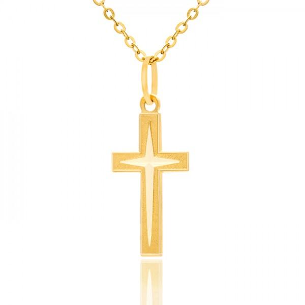złoty krzyżyk z łańcuszkiem pr. 585