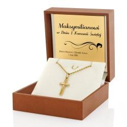złoty krzyżyk z łańcuszkiem na prezent na komunię