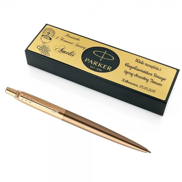 długopis parker jotter west gold z grawerem dedykacji na I Komunię