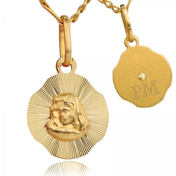 złoty medalik z matką boską na prezent na i komunię świętą