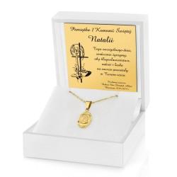 złoty łańcuszek z medalikiem dla dziewczynki