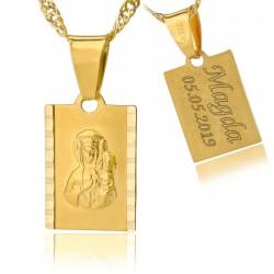 złoty łańcuszek z medalikiem 585 i grawerem