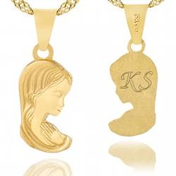 złoty łańcuszek z medalikiem 585 na prezent na komunię