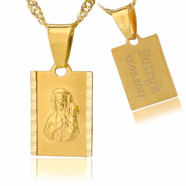 złoty medalik z grawerem na łańcuszku