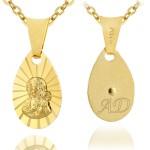 złoty łańcuszek z medalikiem matki boskiej z grawerem