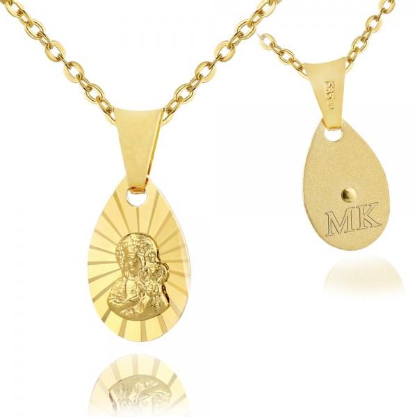 złoty medalik na łańcuszku z grawerem inicjałów