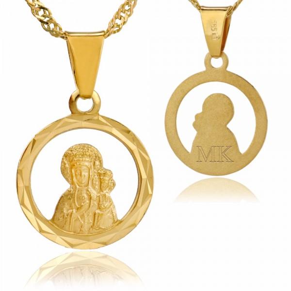 złoty medalik z Matką Boską na łańcuszku z grawerem inicjałów
