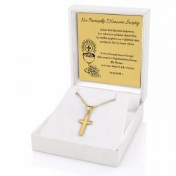 złota biżuteria z grawerem w etui na prezent na komunię