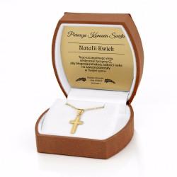 komplet ze złota w etui z grawerem dedykacji na prezent z okazji komuii