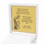 grawer dedykacji na złotej tabliczce w etui na pamiatkę komunii
