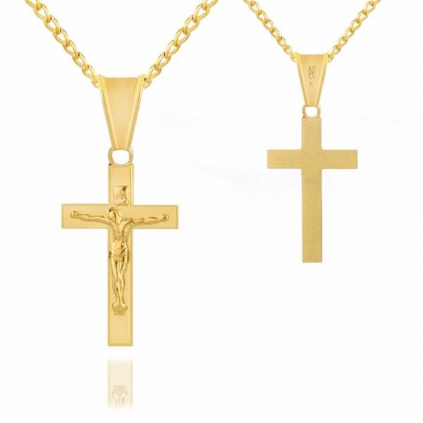 złoty krzyżyk na łańcuszku na prezent dla dziecka
