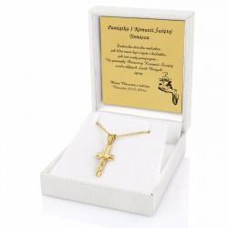 złoty krzyżyk z łańcuszkiem w etui z grawerem dedykacji na komunię