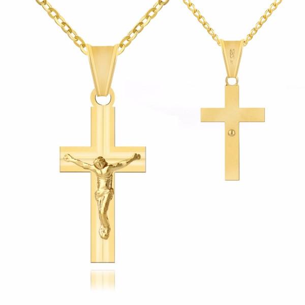 złoty krzyżyk na łańcuszku