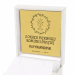 grawer dedykacji na złotej    tabliczce w etui na pamiątkę komunii