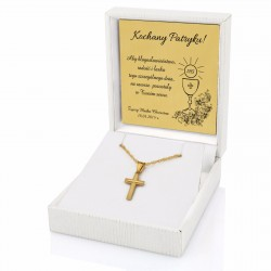 złota biżuteria w etui z grawerem na prezent na komunię