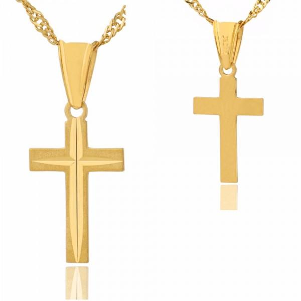 złoty krzyżyk na łańcuszku na prezent