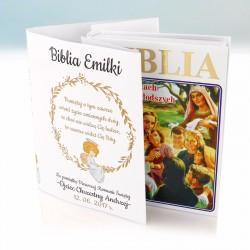 biblia na komunię z personalizowaną okładką na upominek na komunię