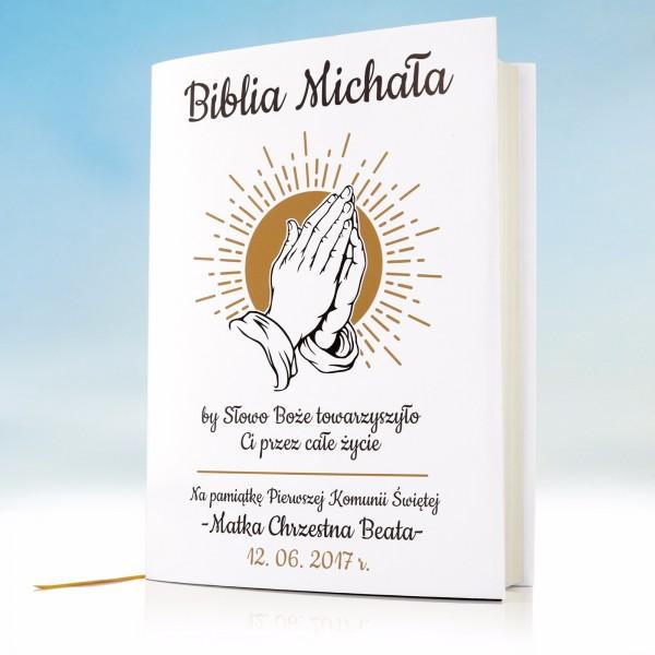 biblia z personalizowaną okładką na prezent na komunię