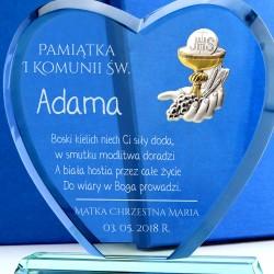 prezent na komunię dla chłopca szklana statuetka z grawerem