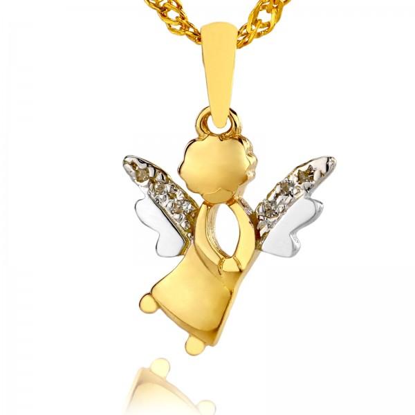 złota zawieszka aniołek na prezent na komunię dla dziewczynki