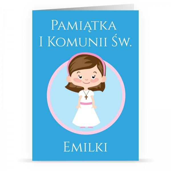 kartka na komunię z personalizacją dziewczynka