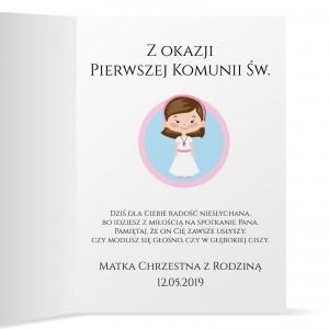 kartka z życzeniami na komunię na prezent dla dziewczynki