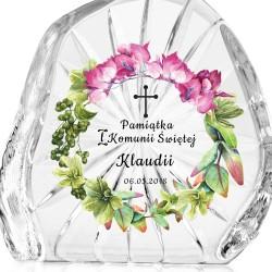 prezent na komunię skałka kryształowa z nadrukiem